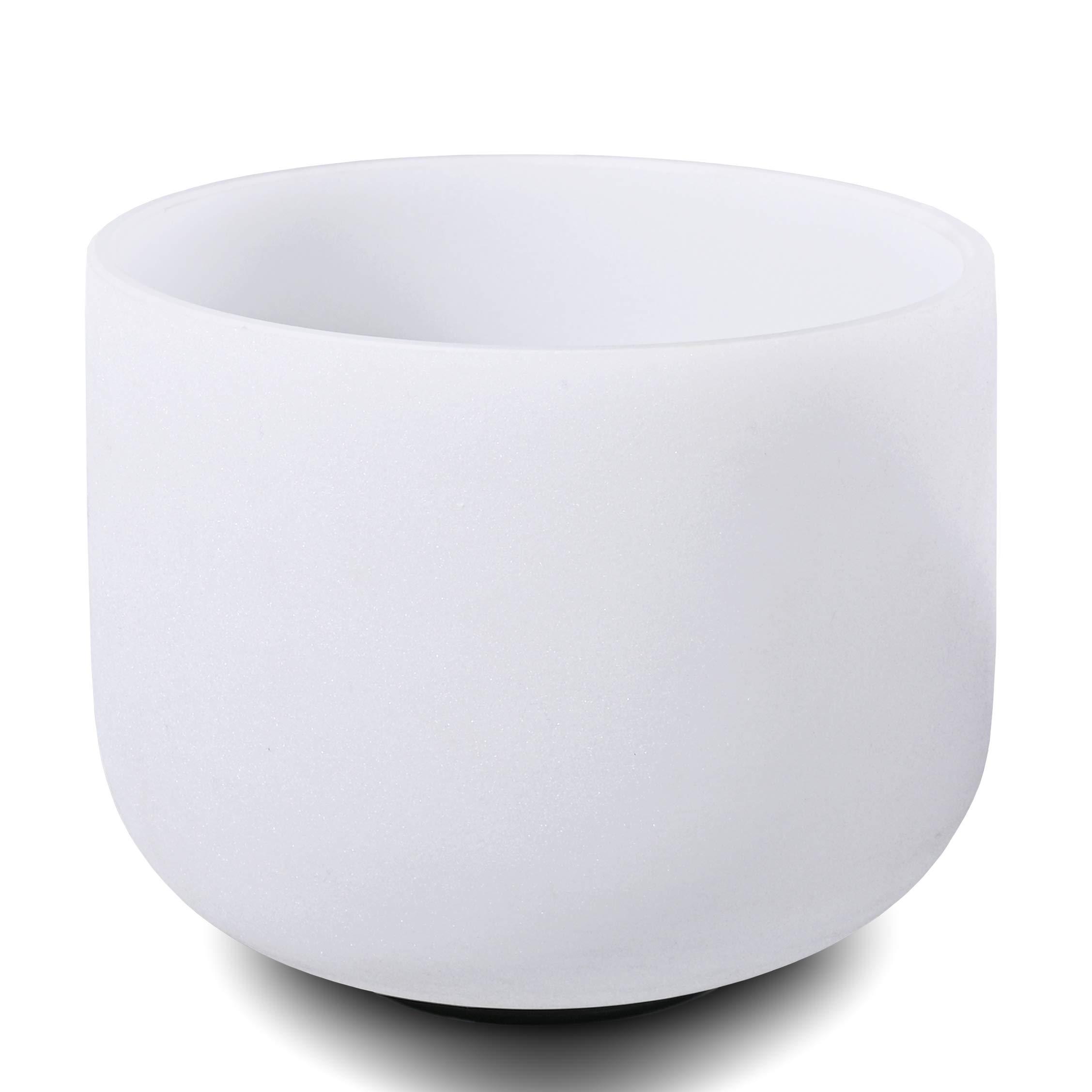 CVNC 10'' Singing Bowl B Note Crown Chakra Frosted Quartz Crystal Singing Bowl + Mallet & O-ring Sound Healing Instrument