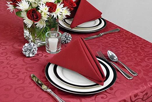 Wine Red Damask Holiday Tablecloth Available in 5 Sizes Machine Washable Polyester