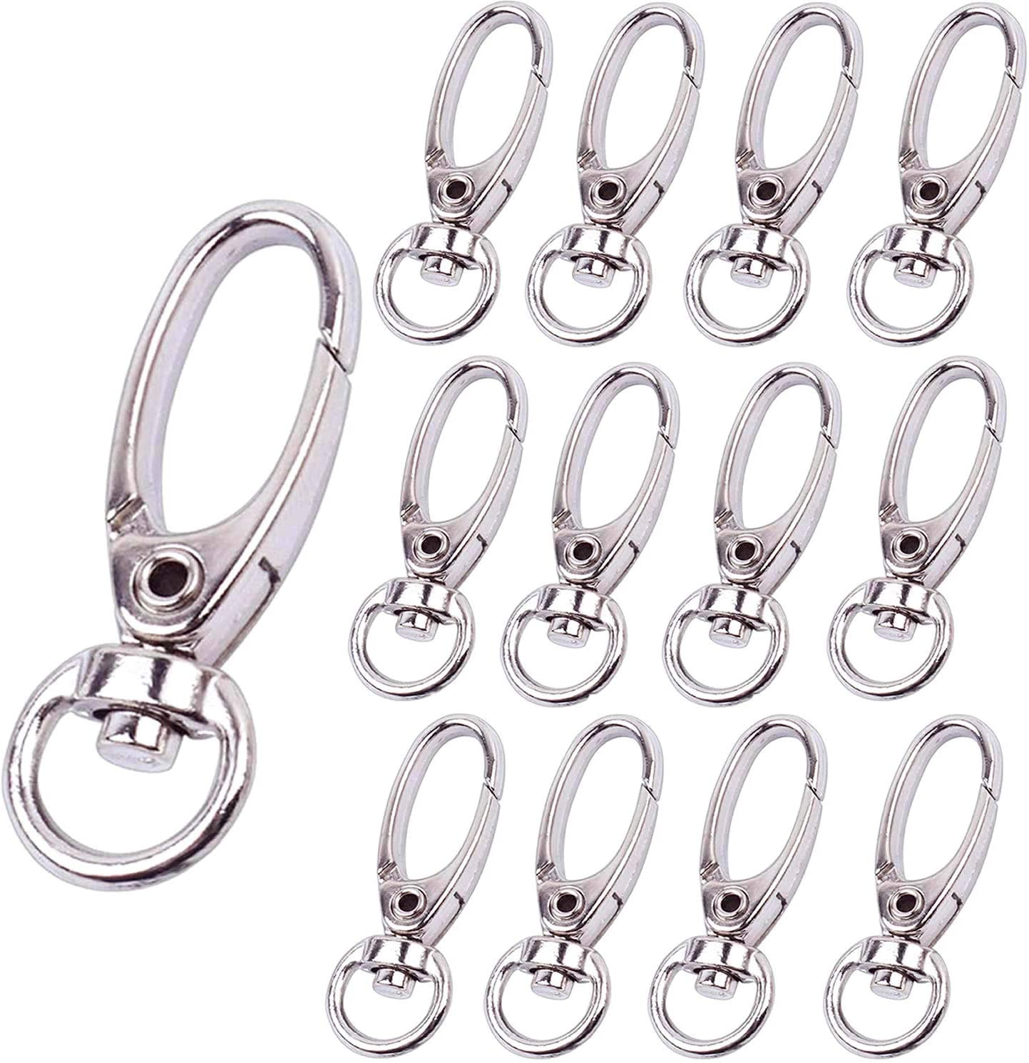 5//10pcs Silver Plated Metal Swivel Trigger Lobster Clasp Clip Hook Bag Key Ring