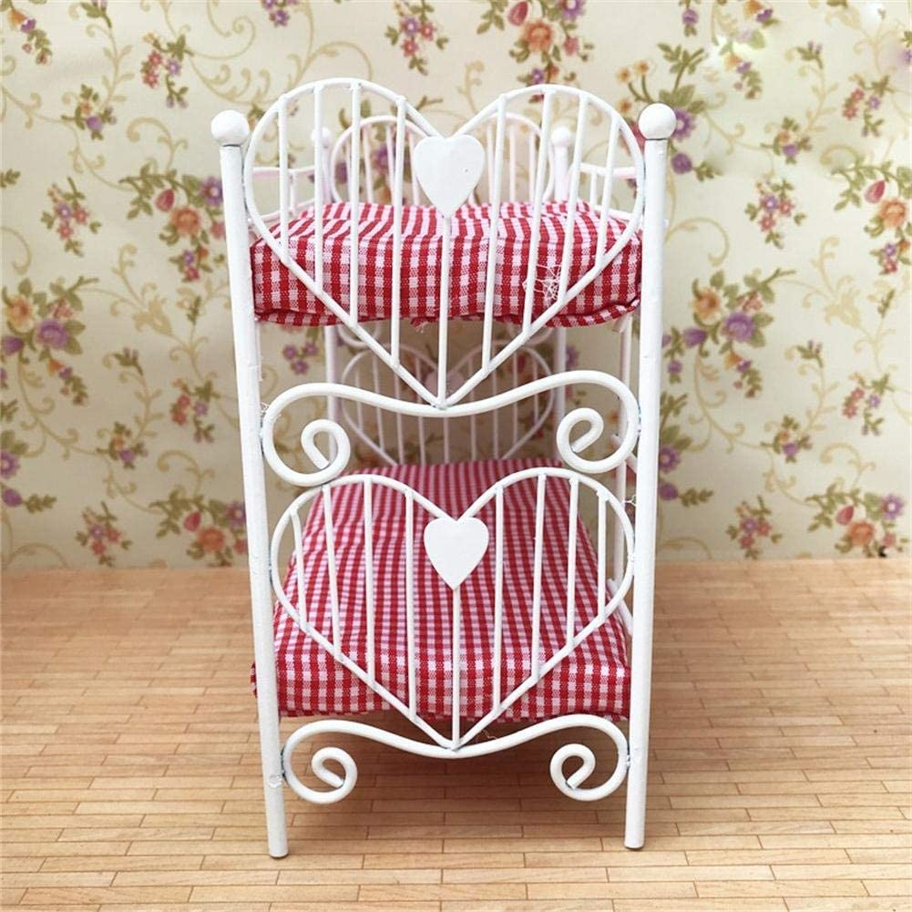 Childrens Toy Bunk Beds Heart Design with Red Bedding for Girls Gift