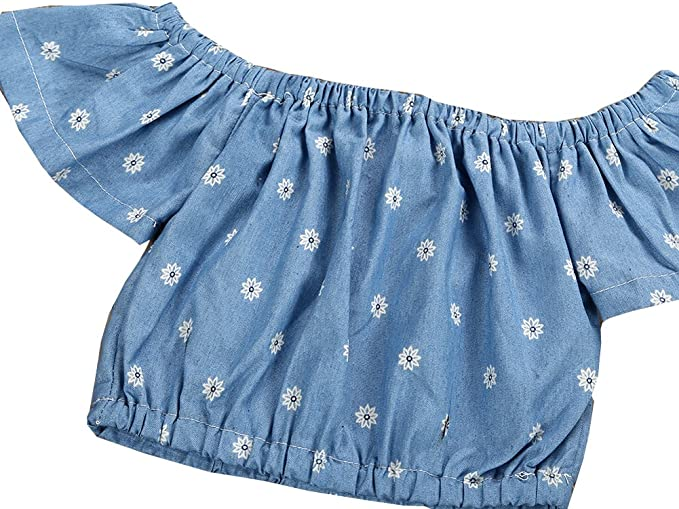 Tomfree Baby Girls Ruffle Off Shoulder Denim Crop Top Lace Bloomer Shorts 2pcs Outfit
