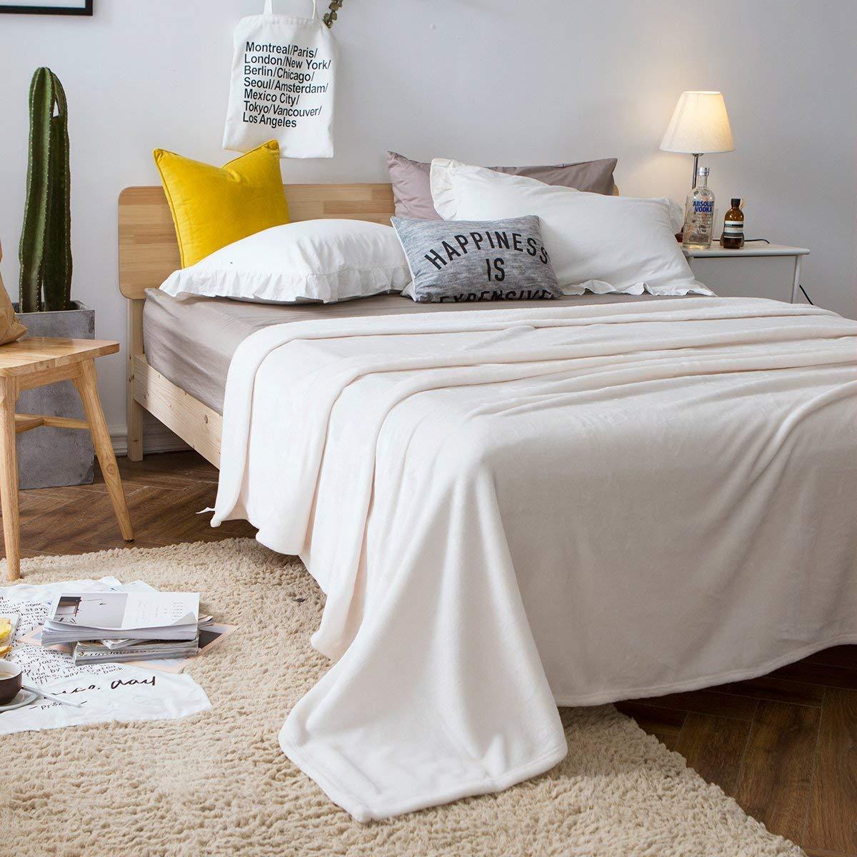 couvertures pour b/éb/és Douce au Toucher Couvre-lits Blanc, 100x140 cm Chaude Ebeta Couverture de flanelle Couverture Plaid Sofa et Lit en Microfibre de Polyester Souple