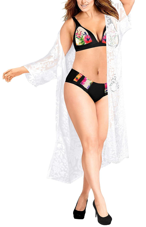LA LEELA Damen Lange Plain Beach Kimono Cardigan Strand Chiffon Bluse Tops Bikini Cover up C
