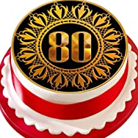 Cannellio Cakes Age 80 Birthday Anniversary 80Th Gold Black Precut 7.5 Inch Cake Topper Edible Decoration Icing Sheet