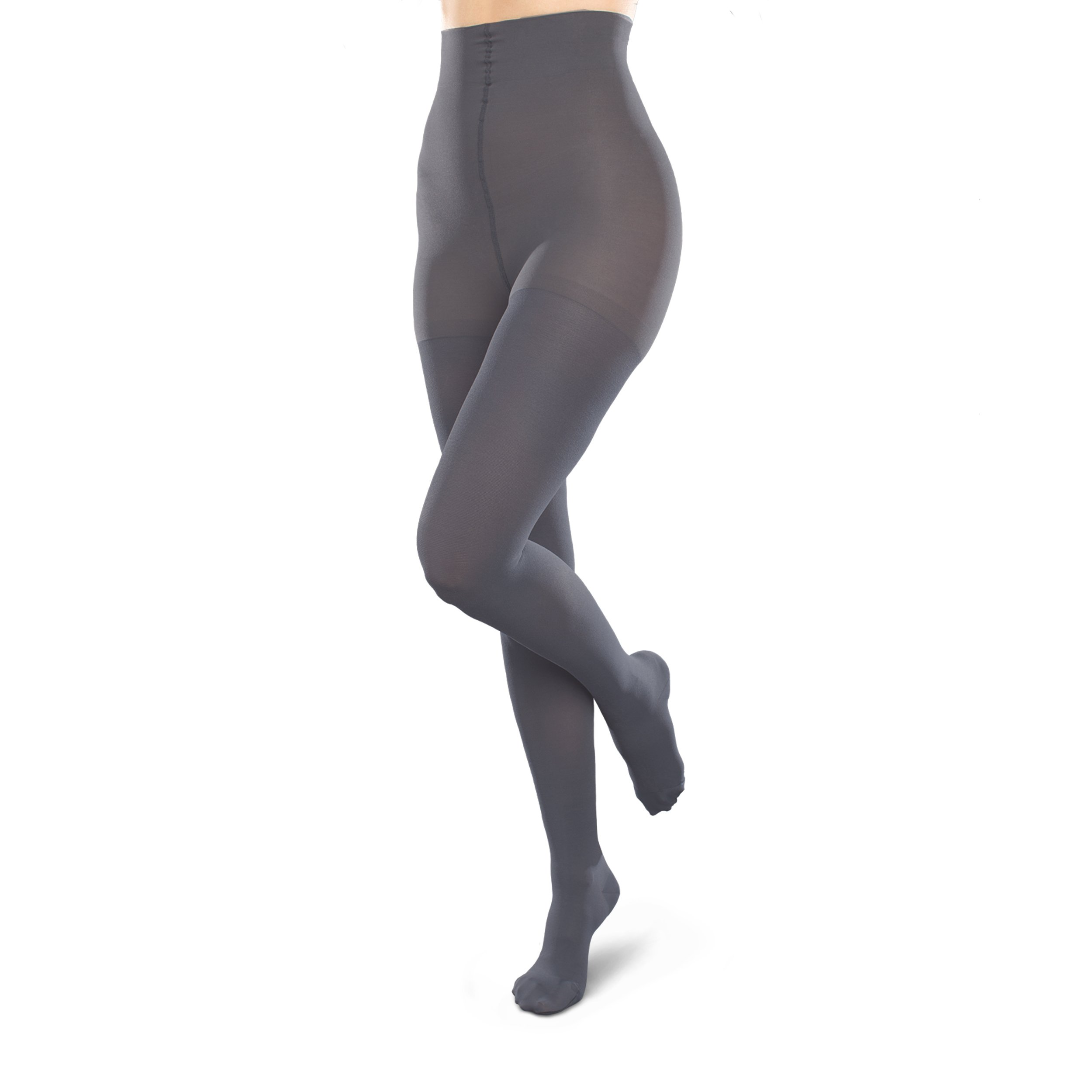 Therafirm Opaque Women's Support Pantyhose - Moderate (20-30mmHg) Graduated Compression Hosiery (Coal, Small Long)