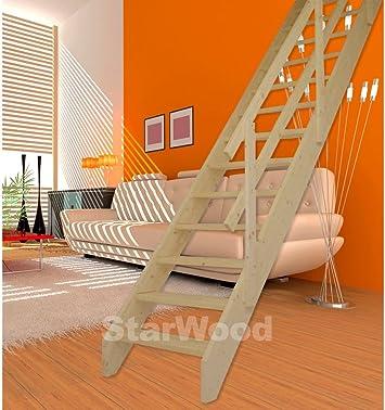 starwood de ahorro de espacio Korfu Escaleras, peldaños abiertos, recto, madera barandilla Derecho recta: Amazon.es: Bricolaje y herramientas