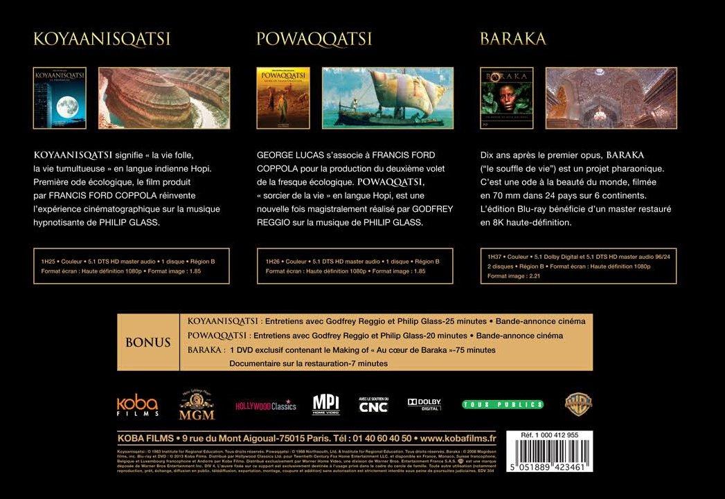 Koyaanisqatsi + Powaqqatsi + Baraka Francia Blu-ray: Amazon ...