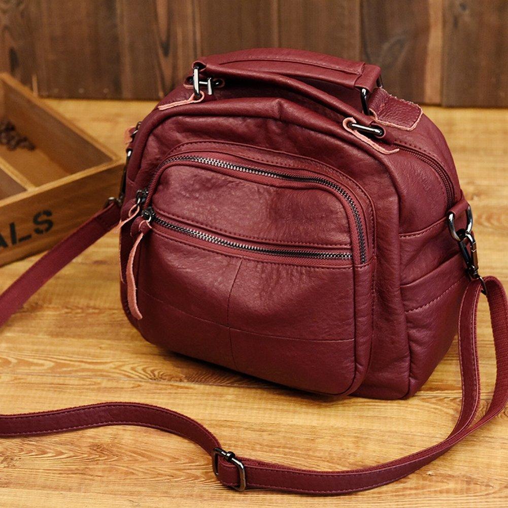 Version Des Trends Der Weichen Leder-Umhängetasche Große Handtasche Messenger Bag Weibliche Paket , Weinrot