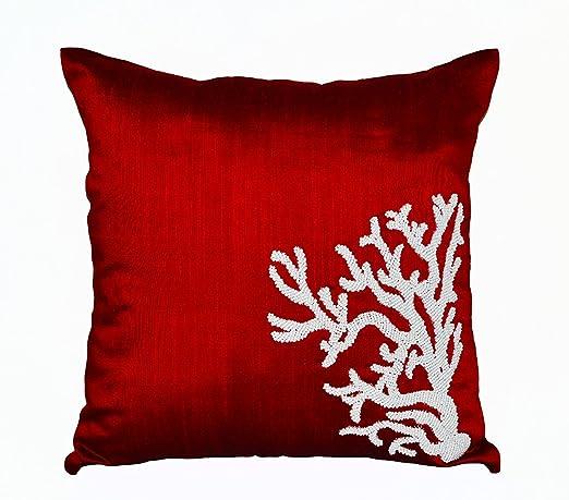 Rojo fundas para cojín cuadrado con bordado coral reef ...
