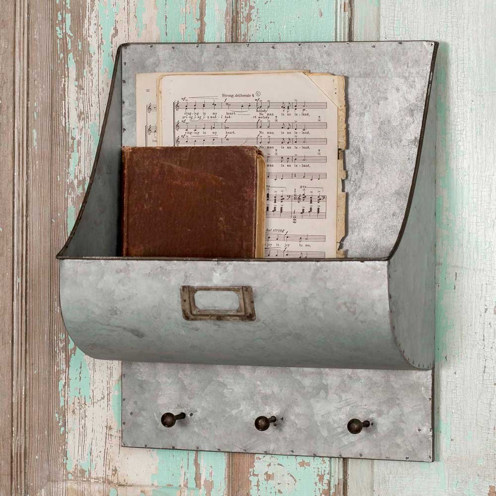 Rustic Metal Wall Caddy with Three Hooks