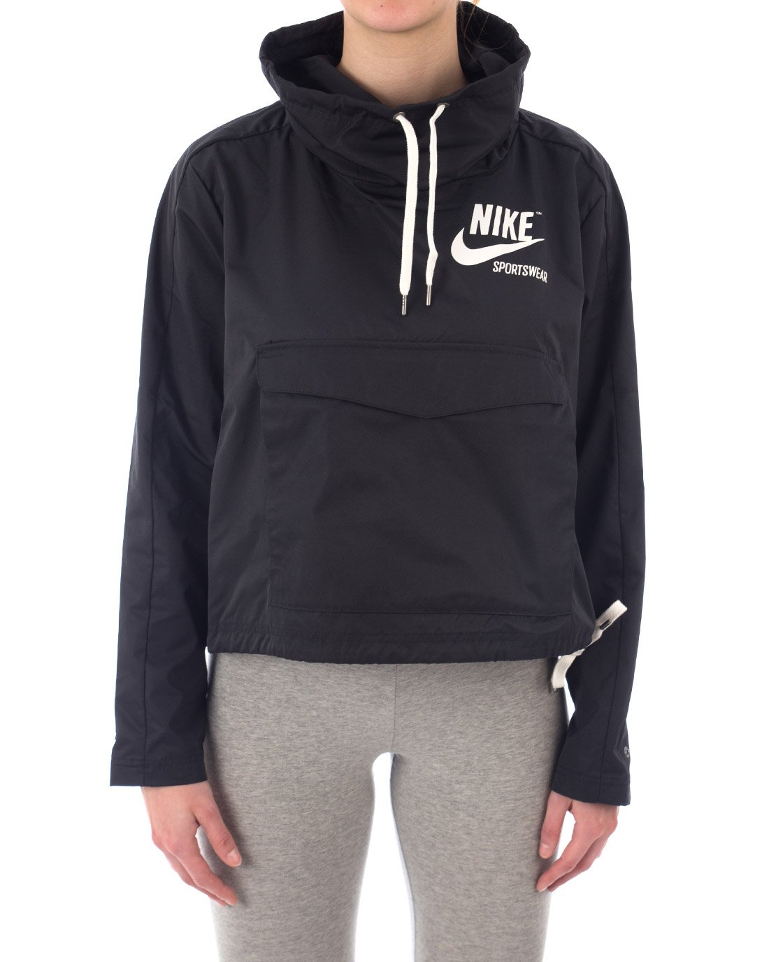 NIKE Womens W NSW Jacket Pullover Archive 920913-010_M - Black/Black