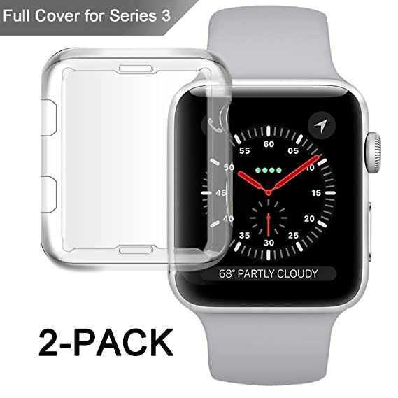 quality design 7fc89 d334b Misxi Apple Watch Series 3 Case, iwatch 3 Screen Protector TPU All-Around  0.3mm Ultra-Thin Cover for New Apple Watch Series 3 42mm (2 Pack)