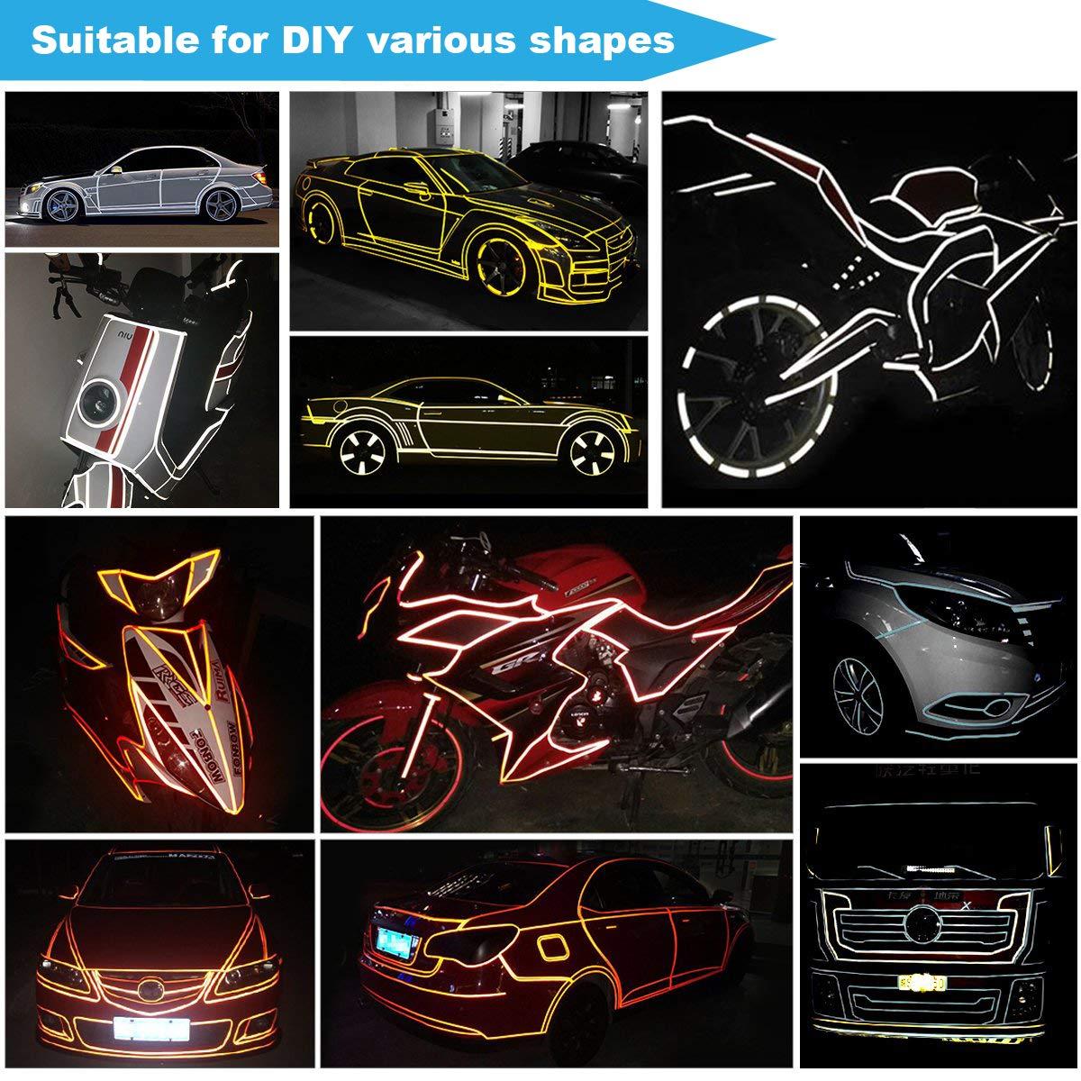 BESTZY Cinta Adhesiva Reflectante Cinta de advertencia de Seguridad Impermeable 5 Colores 5 cm x 3 m Pegatina Alta Visibilidad para Veh/ículos Autom/óviles Motocicletas Bicicletas