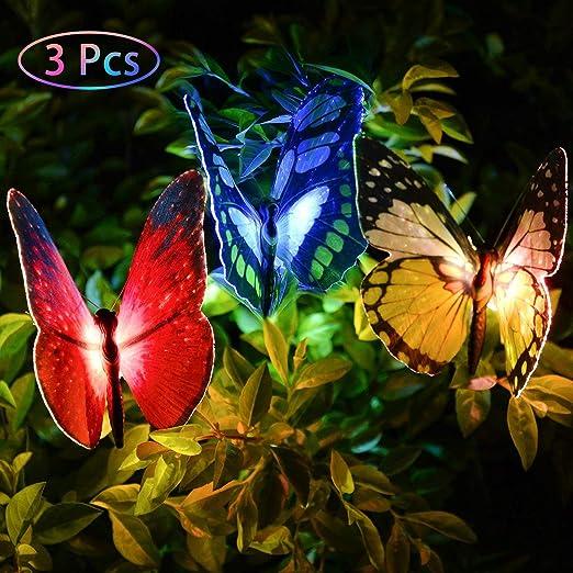 Juego de 3 luces solares para jardín con diseño de mariposas y luz de estaca con cambio de color LED para jardín, jardín, patio, jardín, etc.: Amazon.es: Iluminación
