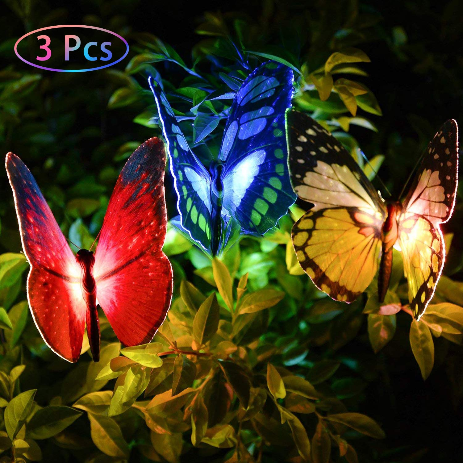 Outdoor Garden Solar Lights Flowers - 3 Pack Butterfly Flower Solar Powered Stake Light with Color Changing LED Garden Decorative Lights for Garden Patio Yard Housewarming Gifts (3 Pack Butterfly) by Jesam