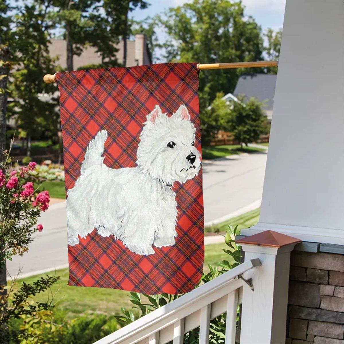 Customized Beautiful Pattern for Decorating Courtyards Etc. in Gardens Grebsw Tartan West Highland White Terrier Garden Flag 12 /× 18