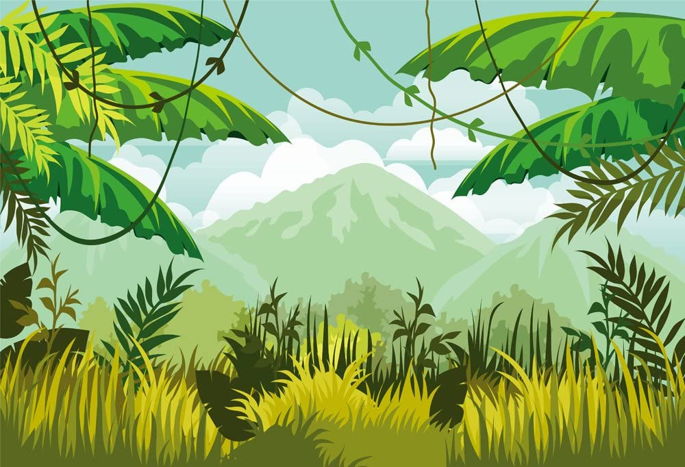 HUAYI8x6ft Jungle Backdrops Photography Background Green Forest Wall Safari Themed Backdrop Baby Shower Dessert Table Background Banner Photo Booth Background Xt-6499