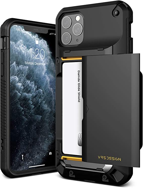 VRS DESIGN Damda Glide Pro Compatible for iPhone 11 Pro Max Case, with [4 Cards] Premium Sturdy [Semi Auto] Credit Card Holder Slot Wallet for iPhone 11 Pro Max 6.5 inch(2019) Black