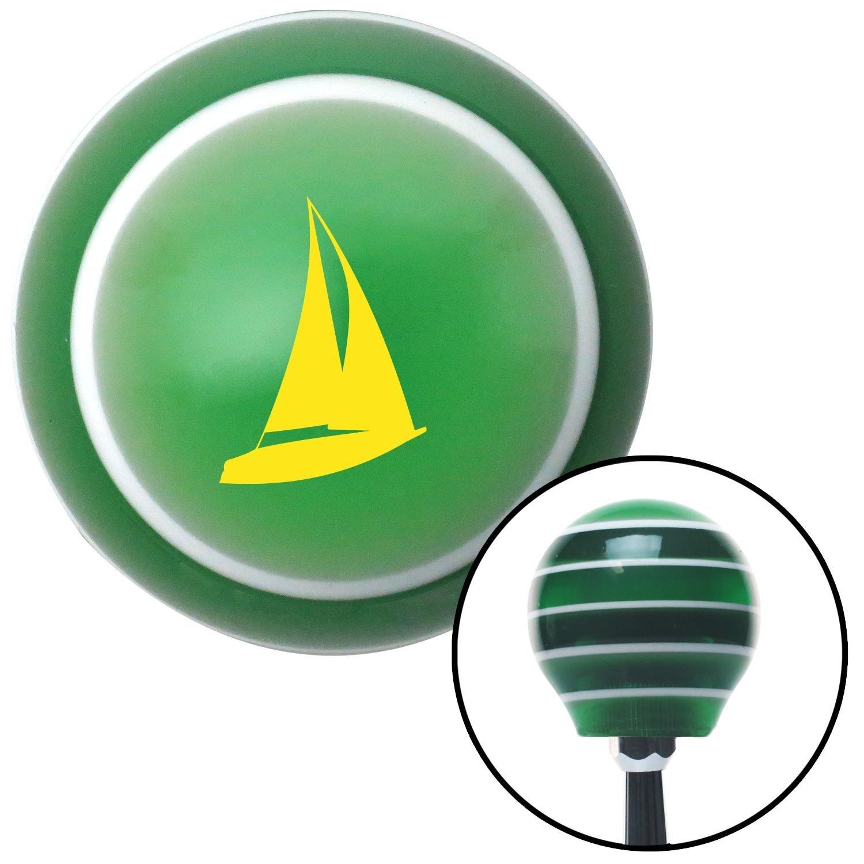 American Shifter 124475 Green Stripe Shift Knob with M16 x 1.5 Insert Yellow Sailboat