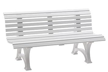 Sitzbank / Gartenbank 3er Design: Helgoland, Länge 150cm, Weiß  (hochwertiger Kunststoff,