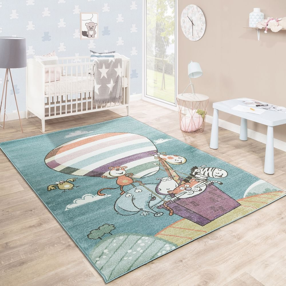 Children'S Rug Playroom Jumbled Zoo Animals Air Balloon Playful Multicoloured, Size:80x150 cm Paco Home