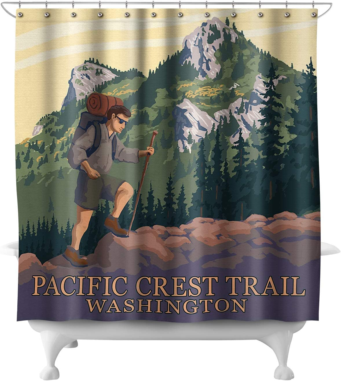 Pacific Crest Trail, Washington - Mountain Hiker 46574 (74x74 Polyester Shower Curtain)