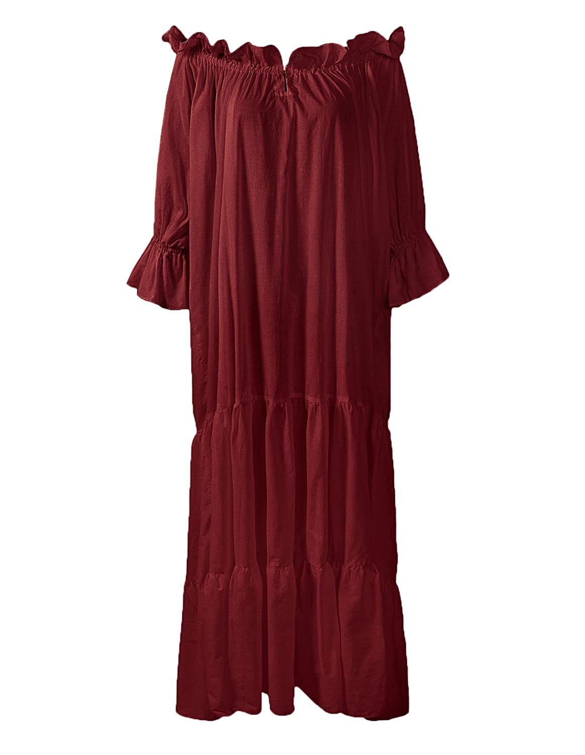 Renaissance Medieval Ruffled Tiered Sleeve Classic Burgundy Chemise - DeluxeAdultCostumes.com