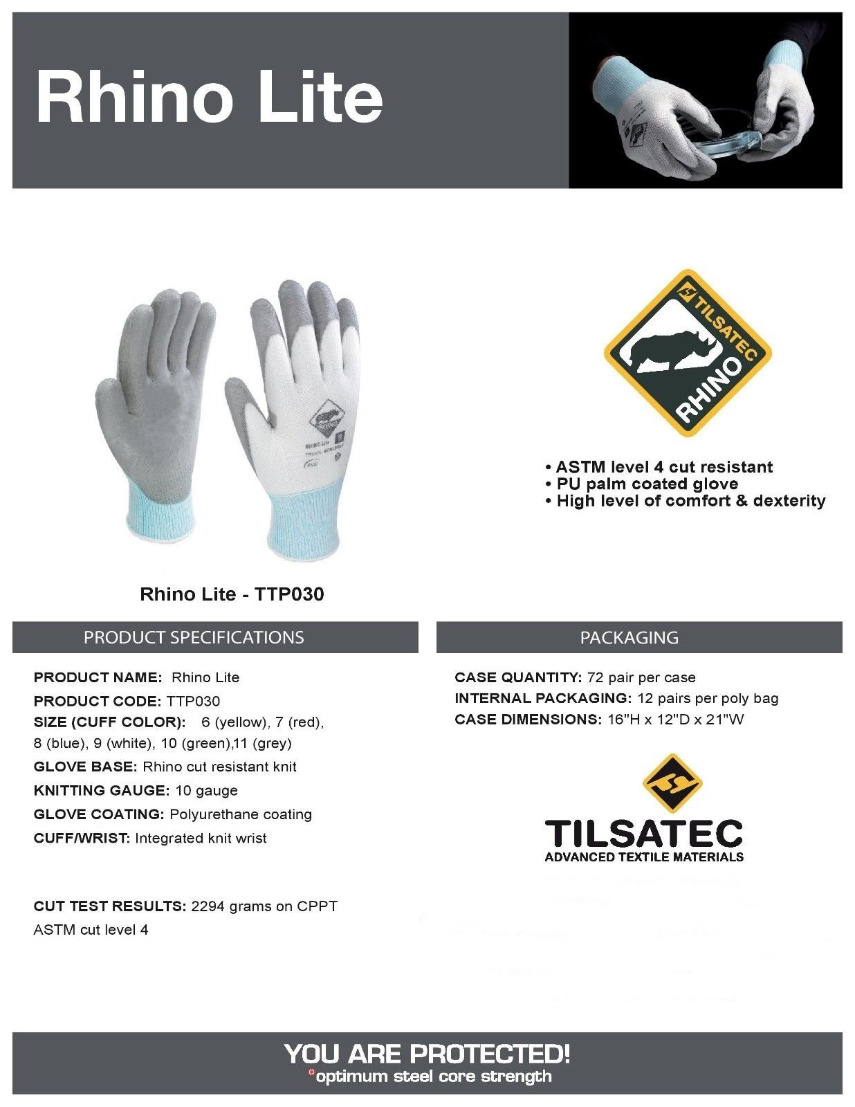 Tilsatec TTP030 Rhino Lite Cut Resistant Gloves, Grey Polyurethane Coated Palm and Fingers, Size: LARGE, 12 Pair by Rhino Lite (Image #1)