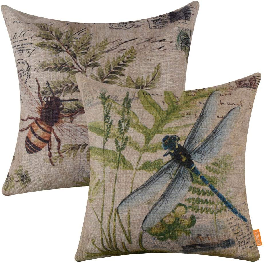 LINKWELL Pack of 2, Square Throw Pillow Covers Set Decorative Cushion Case for Sofa Bedroom Car Couch 18x18 Inch - French Country Bee and Butterfly CC187-195