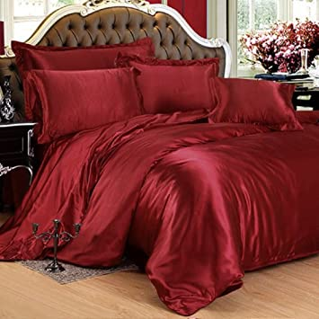 2c222885f9ca Viceroybedding 7 Piece Satin Bedding Sets Red King Bed Size Duvet Cover,  Fitted Sheet,