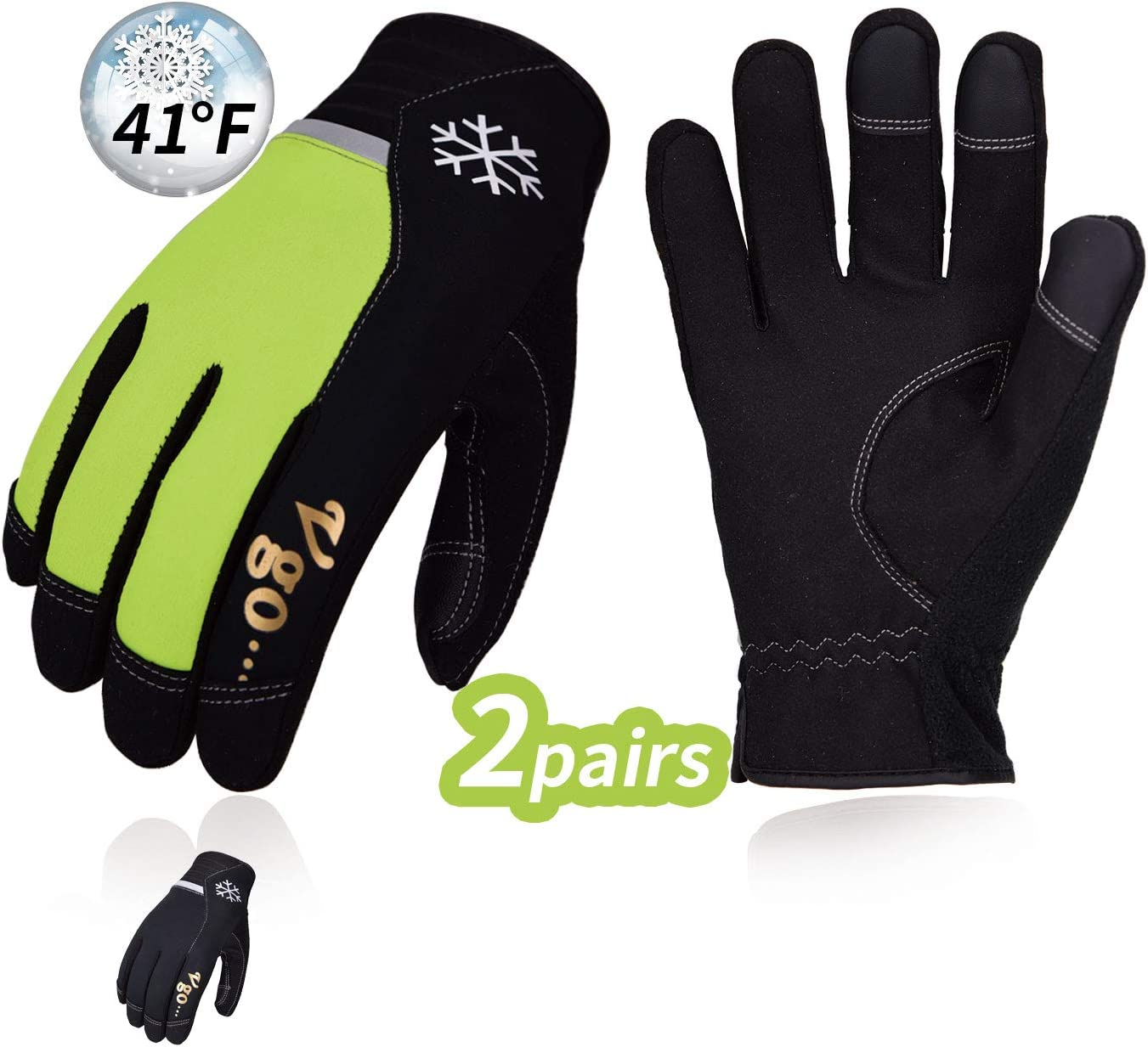 Vgo 2Pairs 41℉ or Above Winter Leather Gloves High Dexterity Cold Storage Work Gloves,Touchscreen (Size XL,Black&Fluorescent Green,AL8772)