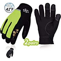 Vgo 2Pairs 5℃/41℉ or Above Winter Leather Gloves High Dexterity Cold Storage Work Gloves,Touchscreen(Black&Fluorescent Green,Size L,AL8772)
