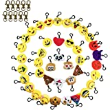 Tomkity 40 Pezzi Portachiavi Emoticon con Altri 10 Gancetti per Regalarli per Una Festa di Compleanno Faccine Portachiavi Emoticon per Decorazioni