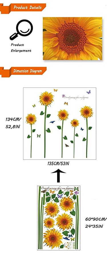 Waterproof removable self adhesive sunflower wall stickers home waterproof removable self adhesive sunflower wall stickers home decorations for windows living room kitchen kids bedroom flowers home decals135134cm ccuart Images
