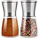 OTBBA Premium Salt and Pepper Grinder Set of 2 - Brushed Stainless Steel Mill Set, Adjustable Coarseness Salt and Pepper Mill Shakers with 6 oz Glass Body