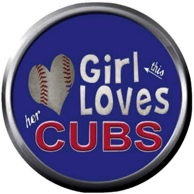 Amazon Com Wrigley Field Girl Love Mlb Baseball Chicago Cubs Logo 18mm 20mm Snap Jewelry Charm Jewelry