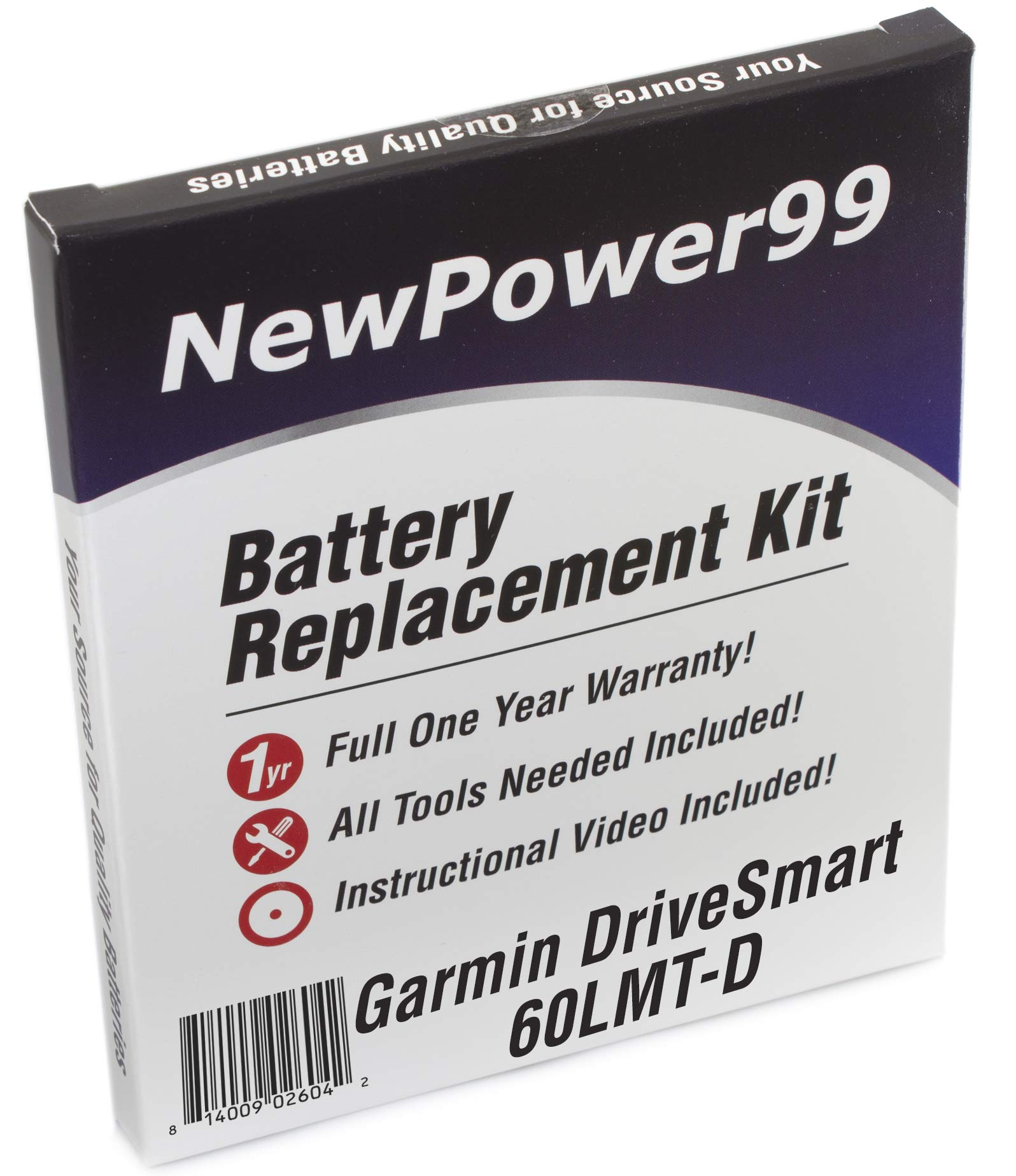 Battery Replacement Kit for Garmin DriveSmart 60LMT-D with Installation Video, Tools, and Extended Life Battery.