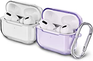 AIRSPO Airpods Pro Case Clear Airpods Pro Case Cover Soft TPU Airpod Pro Protective Skin 2019 with Keychain Compatible Apple AirPods Pro Charging Case (Clear+Clear Purple)