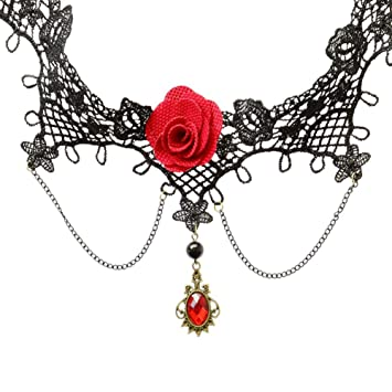 5d28a601d9aeb Doitsa Woman's Gothic Choker Necklace with Drop Red Gemstone and Red Rose  Lace Vintage Tattoo Charm