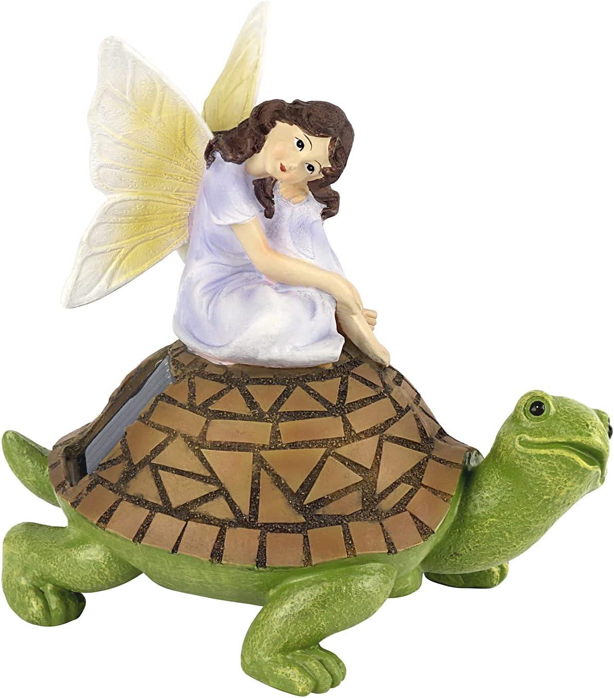 Seefun Garden Sitting Fairy Statue Solar Powered Resin Turtle Figurine Outdoor Decorative Animal Sculpture for Patio, 7 x 7.5 Inch