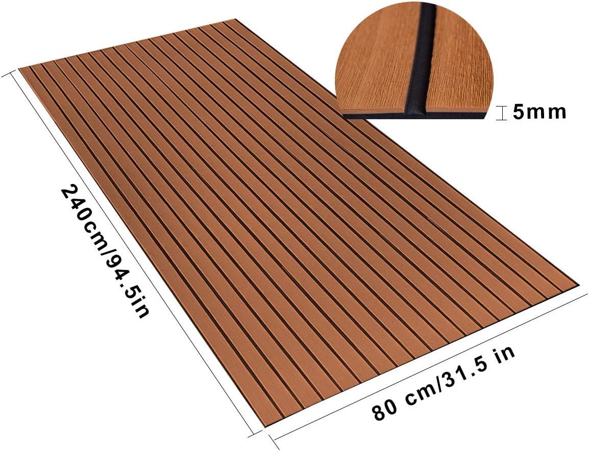 WOOWAVE EVA Foam Teak Floor Decking Sheet for Boat Yacht Non-Slip and Self-Adhesive Sea Deck Boat Flooring Pad RV Swimming Pool Mat Strong Glue 94.5x31.5