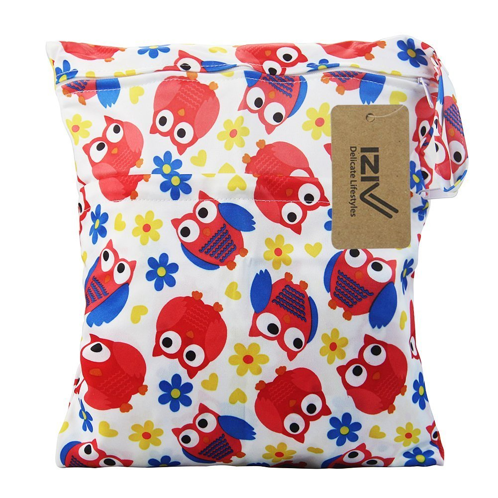 Animals iZiv Baby Waterproof Reusable Wet and Dry Baby Diaper Bag Organizer Pouch Double Zipper Printing Diaper Bag