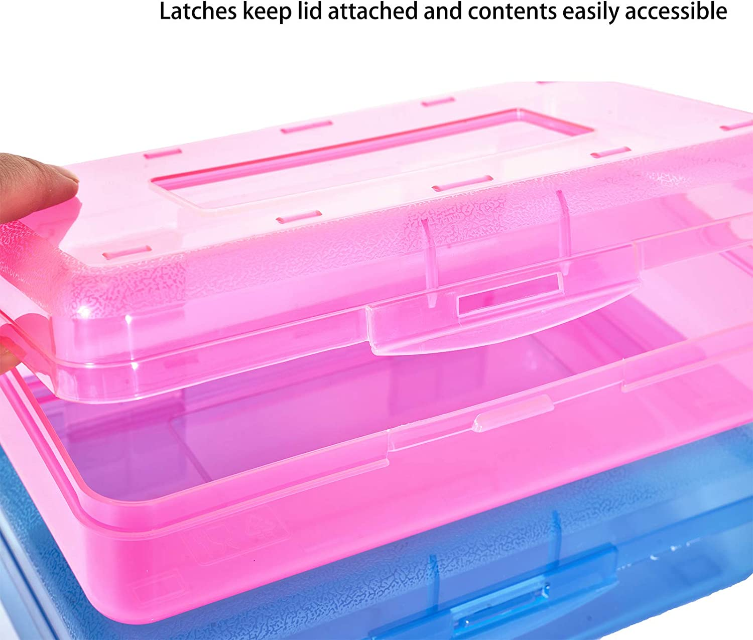 Gamenote Assorted Colors Plastic Pencil Case Box with Lid Snap Closure 3 Colors 6 Pack Large Capacity School Supplies Storage Organizer Box for Kids