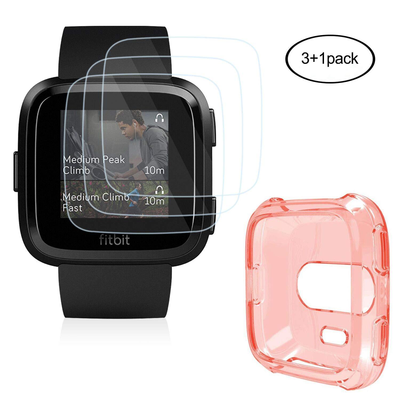 Fitbit Versa Schermo Con Custodia (3+1Pack), HEYSTOP Confezione Da 0.2 mm Vetro Temperato 9H anti-bolle E TPU Case Cover Per Fitbit Versa USVersaCaseFilm-001