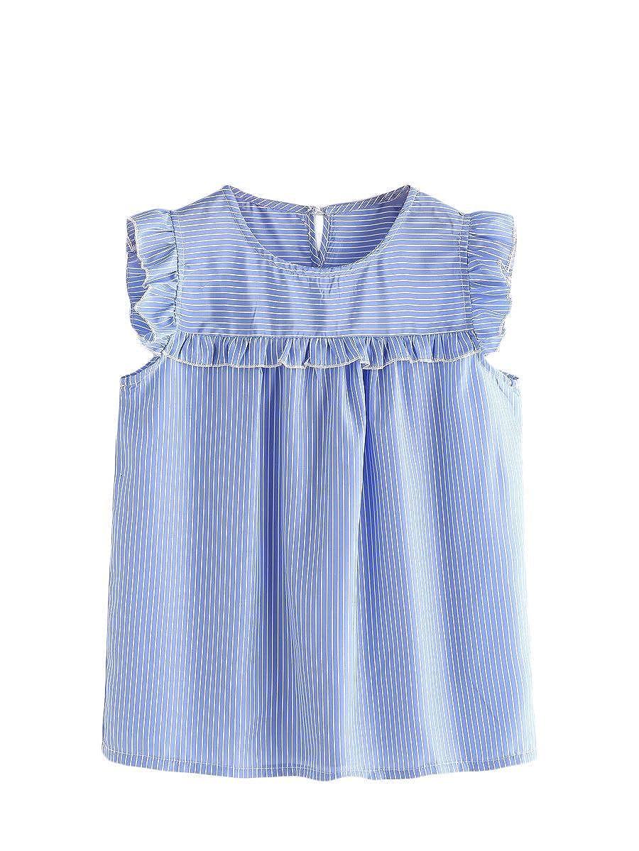 bluee Floerns Women's Stripe Sleeveless Round Neck Casual Frill Trim Blouse Top