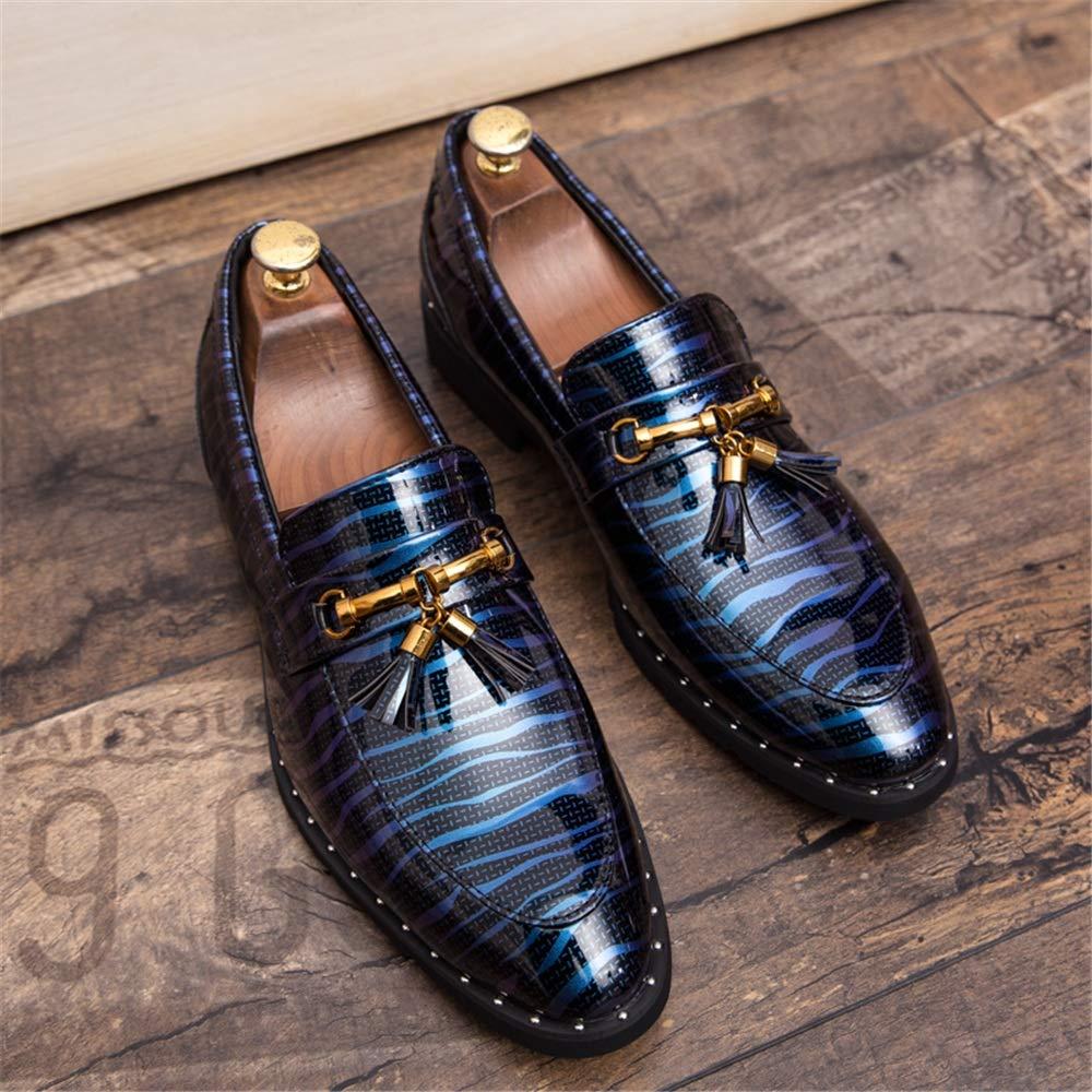 Color : Nero, Dimensione : 38 EU FESSLAND Scarpe per Il Tempo Libero da Uomo Fashion Oxford Slip On Comode Scarpe in Vernice con Suola Leggera in Metallo Nappa