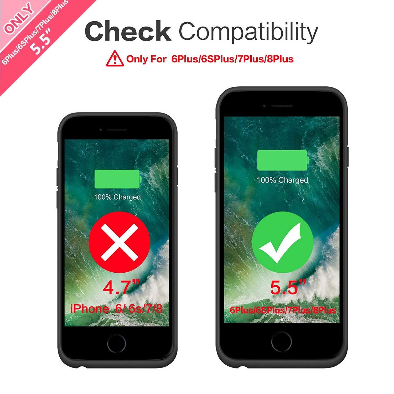 HETP Funda Bateria para iPhone 6 Plus/ 6S Plus/ 7 Plus/ 8 Plus, 8500mAh Carcasa Bateria Externa Recargable Portatil Protector Cargador Power Bank Case ...