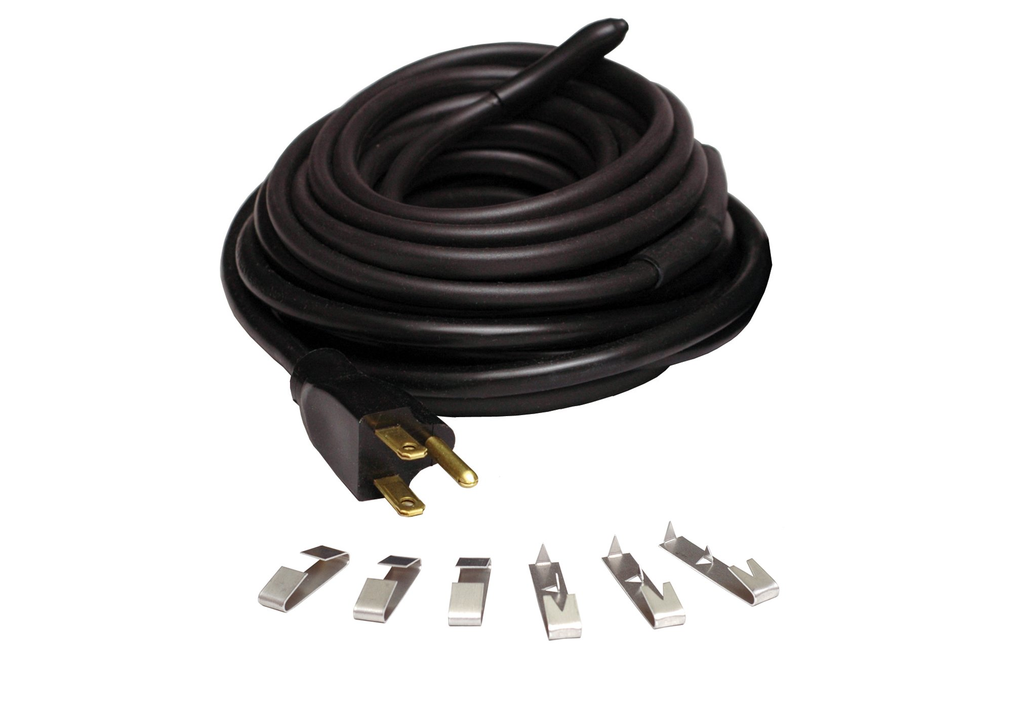 WRAP-ON Roof and Gutter Deicing Cable - 200' Black Electric Heating Cord with 3 Prong Plug & 120 Volt Operation - 14201