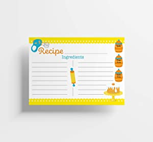 Recipe Cards, 4x6 Inches, 50 Fill-in-the-Blank Cards for Recipe Box, Made In the USA (Kid's Emoji)