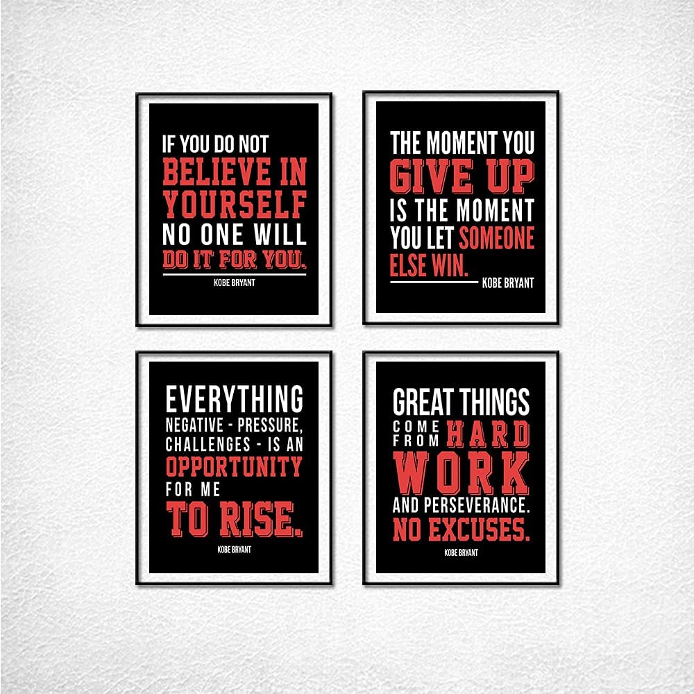 K-o-be Inspirational Quotes-Kobe Poster Decorative Painting Canvas Wall Art Living Room Posters Bedroom Painting Home Decoration-Vertical Set of Four 08×10inch